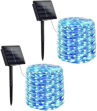 Toodour Solar String Lights, 2 Packs 72ft 200 LED 8 Modes Solar Fairy Lights, Waterproof Outdoor String Lights, Copper Wire Fairy Lights for Garden, Party, Wedding, Holiday Decorations Blue