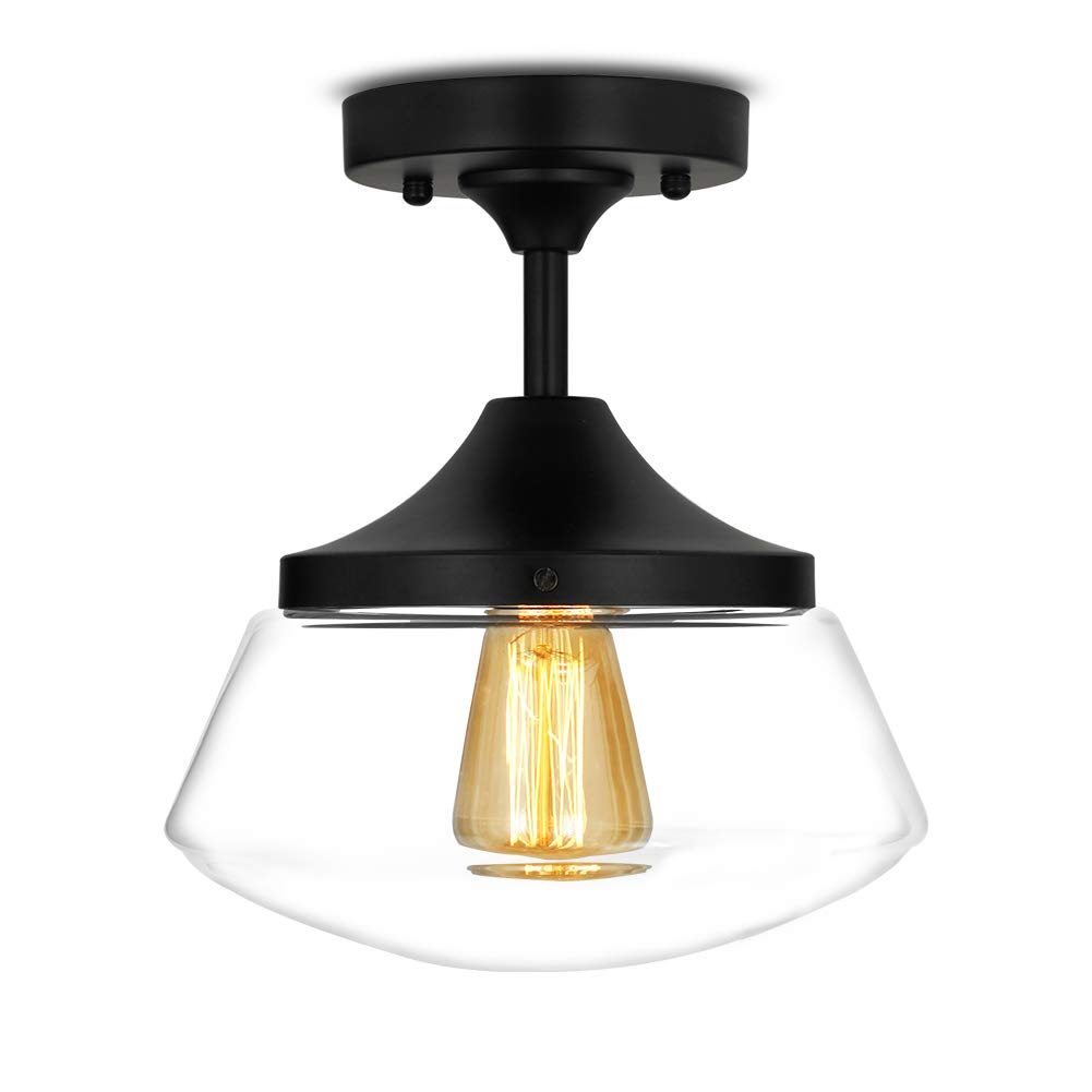 Industrial Semi-Flush Mount Ceiling Light, 10'' Clear Glass Schoolhouse Farmhouse Pendant Lighting Fixture with Matte Black Finish, UL Listed