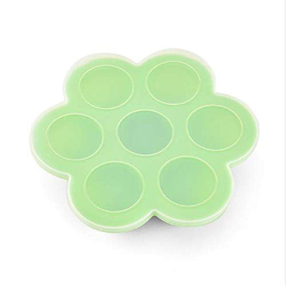 SAYGOGO 7-Hole Silicone Children's Food Supplement Box/Crisper/Jelly Ice Cube with Lid, Green, 8.25x8.25x1.97