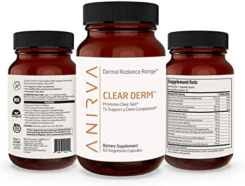 Clear Derm- Acne Supplements for Adults, Hormonal Acne Treatment, Vitamins for Acne, Cystic Acne Treatment, Rosacea Skincare Treatment, Zinc Supplement for Acne, Made in USA - 60 Veggie Capsules