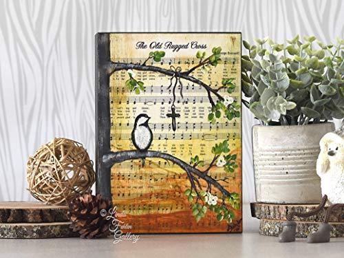 MarthaFox Christian Gift Original Painting on Wood 5th Music Art Bird Painting Art Block Hymn Art Gift for Women Hymn Bookshelf Decor