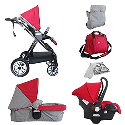 Papilioshop Thuo - Trío modular de carrito y silla para bebés con certificado, moisés,