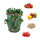BoHoFarm Strawberry Planter Pot Planting Bag Growing Tower Grow Bags Green 2-Pack Hydro