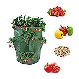 BohoFarm Strawberry Planter Pot Planting Bag Growing Tower Grow Bags Green 2-Pack Hydro