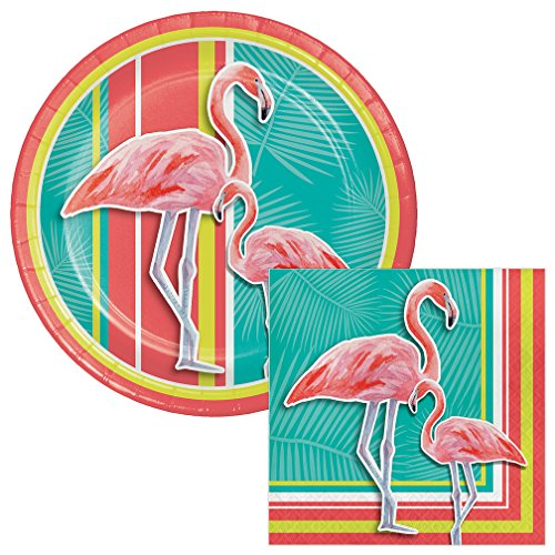 Island Oasis Flamingo Lunch Plates & Napkins Party Kit for 8