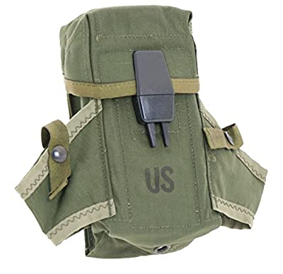 Ultimate Arms Gear Surplus Genuine USGI Military Issue OD Olive Drab Green Rifle Magazine Mag Ammo Small Arms Pouch Case with Dual Grenade Carrier and Alice Attachment Clips