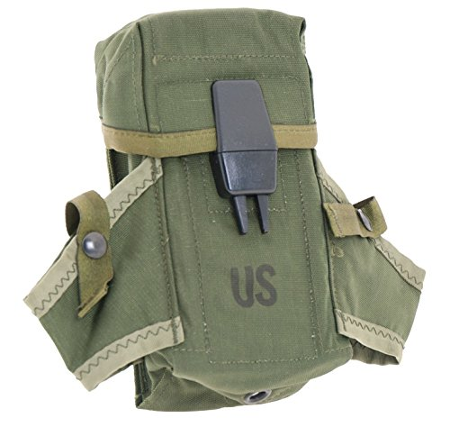 Ultimate Arms Gear Surplus Genuine USGI Military Issue OD Olive Drab Green Rifle Magazine Mag Ammo Small Arms Pouch Case with Dual Grenade Carrier and Alice Attachment ()