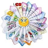 LACS Ladies Vintage Floral Handkerchiefs Wedding Party Cotton Hankies Pack