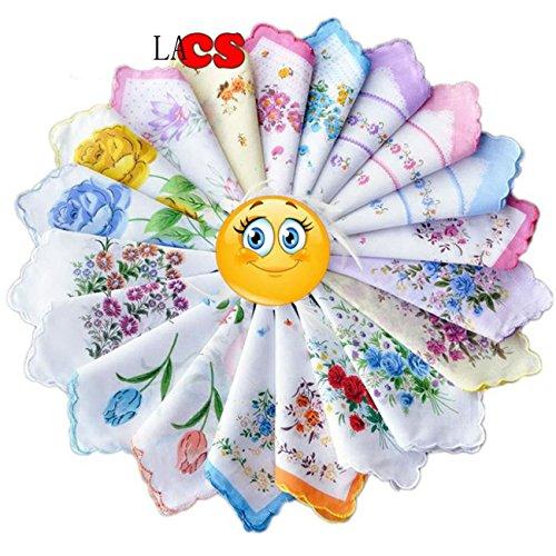 LACS Ladies Vintage Floral Handkerchiefs Wedding Party Cotton Hankies Pack ()