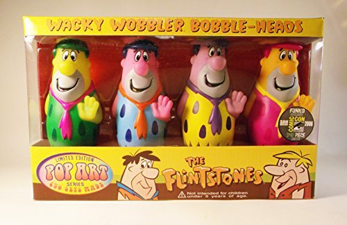 Set of 8 Fred Flintstone and Barney Rubble Pop Art Wacky Wobbler Bobble Heads - San Diego Comic Con 2006 Limited Edition