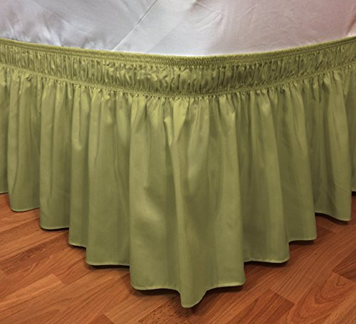 CT DISCOUNT STORE Elastic Ruffle Bed Skirt Easy Warp Around King/Queen Size, Bed Skirt Pins Included By (king/queen, Sage Green)