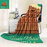 vanfan Unique Custom Blanket Vintage Poster Famous Monument Hawa Mahal in India Illustration Orange Jade,Silky Soft,Anti-Static,2 Ply Thick Blanket. (90''x70'')
