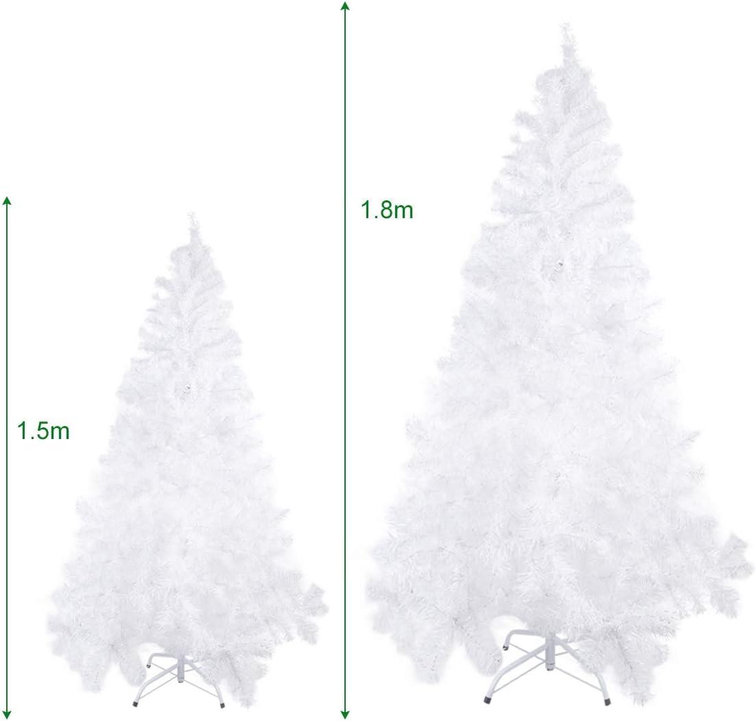 Kranich Sapin de No/ël 450//600//1000 Branches Artificiel PVC Blanc Arbre de Noel avec Support en m/étal Xmas Party Decortaion 180Cm 600 Tips