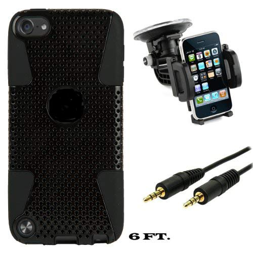 Black Fusion Dual Layer Hybrid Protector Case for Apple iPod Touch 5 + 3.5mm Stereo Audio Cable (6 feet) + Windshield Mount Kit (Ipod Touch Me179ll A)