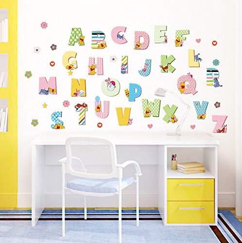 Winnie The Pooh Cartoon Wall Sticker for Kids Rooms Alphabet Children's DIY Art Mural Wall Decals Baby Room Decoration Poster