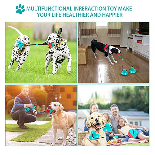 shuny Double Suction Cup Dog Chew Toy Tug of War Rope Toys for Aggressive Chewers Interactive Puppy Puzzle Toys Food Dispensing Toothbrush Teeth Cleaning Ball for Large Dogs