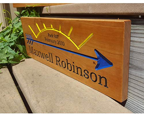 (Routed Wood Cub Scout Webelos to Boy Scout Arrow of Light Award Wood Routed Sign Plaque Handmade Cubscout Blue Gold Pack Custom Hand Carved AOL Cedar Cherry Butternut)
