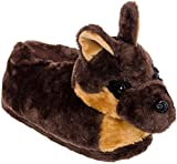 Silver Lilly German Shepherd Slippers - Plush Dog Slippers w/Platform by (Brown/Tan/Black, Large)
