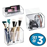 Mirrored Makeup Vanity mDesign AFFIXX, Peel-and-Stick Strong Self-Adhesive Cosmetic Organizers for Vanity to Hold Makeup, Beauty Products - Set of 3, Clear/Mirrored Accent