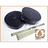 """BLACK High Temperature Header Exhaust Pipe Insulation Wrap Kit: 2 Rolls Black 1/8"""" X 2"""" X 50' with a Stainless Ties Kit- Thermal Zero"""