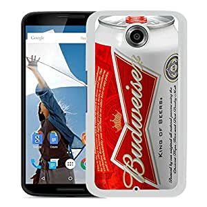 Beautiful Designed Cover Case For Google Nexus 6 With Budweiser White Phone Case