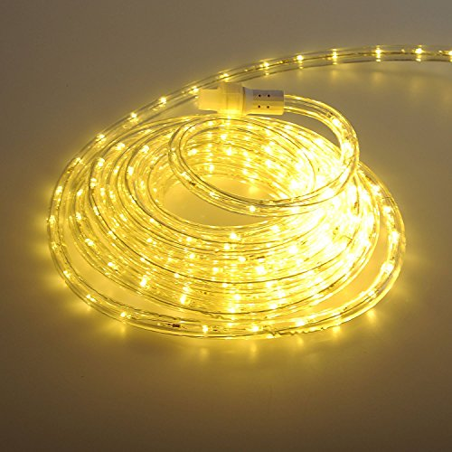 24Ft LED Rope Lights Heavy Duty Bright Warm White-Custom Cut & Expandable 2-Wire 120V UL Listed, Perfect for Roofline, Garden, Backyard, Pathway, Patio, Tree trunks Indoor & Outdoor Decoration (Custom Patios)