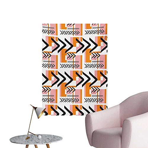 Anzhutwelve Geometric Wall Picture Decoration Hand Drawn Artistic and Grunge Looking Arrows Rectangles and SquaresOrange Pale Pink Black W32 xL48 Poster Print