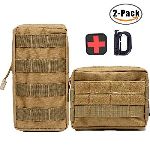 MOFULL 2 Pack Molle Pouches, Tactical Compact EDC Pouch Multi-purpose Military Admin Utility Gadget Gear Pouch Bag Hip Belt Waist Pack with Belt Loop (tan A + tan B)