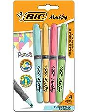 Marcador de Texto Cores Pastel BIC Marking, Ponta Chanfrada, Grip, 1.5 - 3.5mm, 970913, 4 Unidades