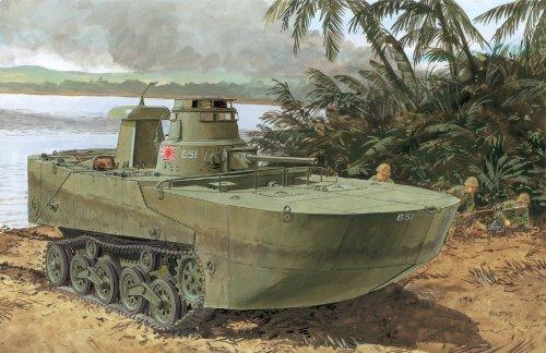 Dragon Models IJN Type 2 Ka-Mi Amphibious Tank with Floating Pontoons Smart Kit, 1/35-Scale ()