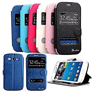 ZL Shiny Double Windows Pattern TPU and PU Leather Case with Stand for Samsung Galaxy Grand2 G7106/G7108 , Black