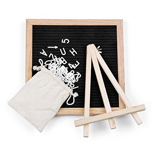 Botu Changeable Letter Board - 10'' x 10'' 340 Letter Felt Letter Board Sign Message Board, Changeable Letter Board Oak Wood Frame with Canvas Bag (Black)