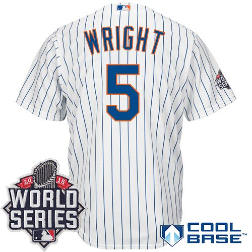 David Wright #5 MLB Youth 2015 World Series Patch Cool Base Home Jersey (Youth Large 14/16) (Jersey David Wright)
