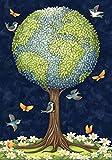 Toland Home Garden Earth Tree 12.5 x 18 Inch Decorative Peace Globe Planet Bird Butterfly Flower Garden Flag
