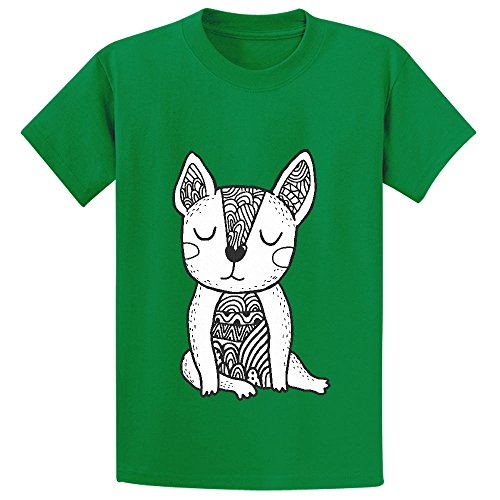 Snowl Doodle French Bulldog Unisex Crew Neck Graphic T-shirt Green ()