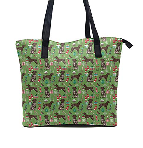 YongColer Funny Handbag Zipper Tote Bag Large Capacity Women Student Shoulder Bag for Work School Business Shopping Travel (German Shorthaired Pointer Dogs) ()