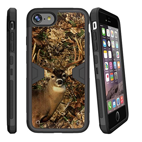 MINITURTLE Case Compatible w/ MAX DEFENSE Case for iPhone 7 Plus [ Apple iPhone 7 Plus | iPhone 7s Plus] Combat Shockguard, Hard Sleek Shell Silicone Bumper w/ Stand and Holster Deer Hunting Camo