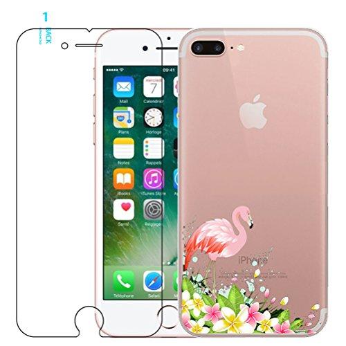 iPhone 7 / iPhone 8 Flamingo Funda de Silicona con Protector de Pantalla de Vidrio Templado, Blossom01 TPU Ultra Fina Cover de Silicona con Dibujo Animado Lindo para iPhone 7 2016 / iPhone 8 2017 #02