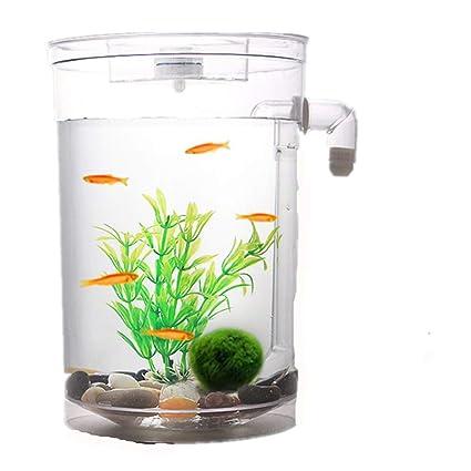 MEILI Perezoso Self-Cleaning Desktop Mini Plástico Sin Agua Goldfish Bowl Pequeño Acuario,Round
