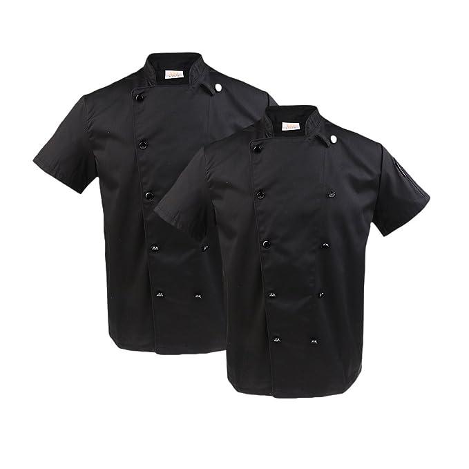 non-brand Sharplace 2pcs Abrigos de Manga Corta Doble Botonadura Bolsillo Izquierdo Cocina Hotel Restaurante Profesional Chef Unsiexo - Negro, ...