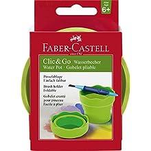 Faber-Castell 181570 – Agua Taza clic y Go, materiales de aprendizaje, color verde claro