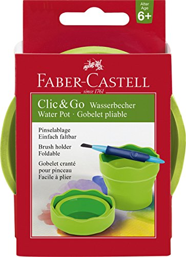 Faber Castell Clic & Go Portable Water Cup with Brush Holder, Green