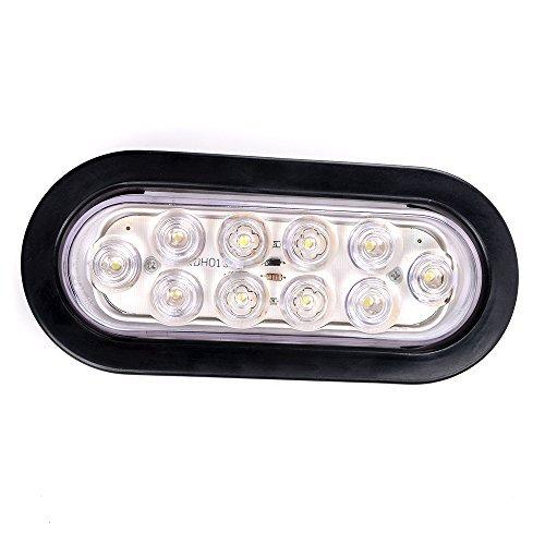 - Bright White 6000K Oval 10 LED Clear Lens Backup Reverse Fog Light Bulb Grommet Plug Car Truck Trailer RV UTE UTV Boat Vans (1 pc)