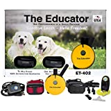 Bundle of 2 items - E-Collar - ET-402 - 3/4 Mile Wireless Rechargeable Remote Waterproof Trainer Educator - Static, Vibration and Sound Stimulation Collar with PetsTEK Dog Training Clicker