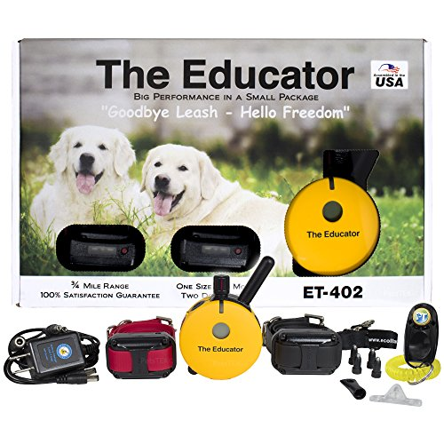 (Educator Bundle 2 Items - E-Collar - ET-402-3/4 Mile Wireless Rechargeable Remote Waterproof Trainer Static, Vibration Sound Stimulation Collar PetsTEK Dog Training Clicker)