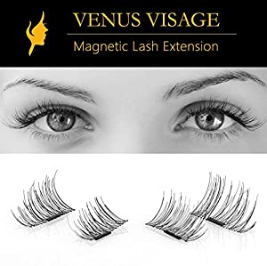 False Magnetic Eyelashes by VENUS VISAGE 4 Pieces | Single Magnet | 1/2 Lash Extension | Hand Made | Ultra Thin and Lightweighted