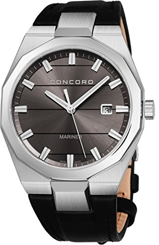 - Concord Mariner Mens Casual Grey Face Watch - 41mm Stainless Steel Analog Quartz Watch with Luminous Markers, Second Hand, Date and Sapphire Crystal Black Leather Band Swiss Made Watch for Men 0320262