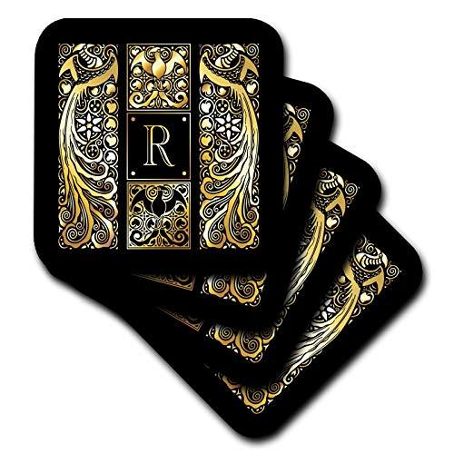 3dRose Russ Billington Monograms-Peacocks- Letter R - Image of Art Nouveau Peacocks- Monogram Letter R- not foil embossed - set of 4 Ceramic Tile Coasters (cst_298077_3)
