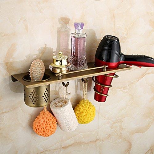 Hiendure®40cm * 12cm Messing Wandhalterung Multi-Funktion Badezimmer Regal Fönhalter Kleiderhaken Platzsparend, Antique Brass Fertig