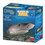 National Geographic Super 3D Kids 100 Pc Jigsaw Puzzle - Shark Design - 12'' x 9'' - Ages 5+